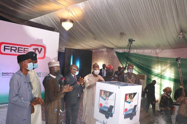 Lai Mohammed at the launch of FreeTV in Lagos