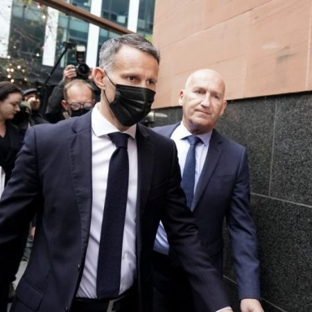 Ryan Giggs at Manchester Magistrates court on Wednesday. Photo The Sun