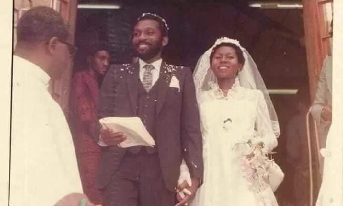 Mr and Mrs Akeredolu on their wedding day 40 years ago