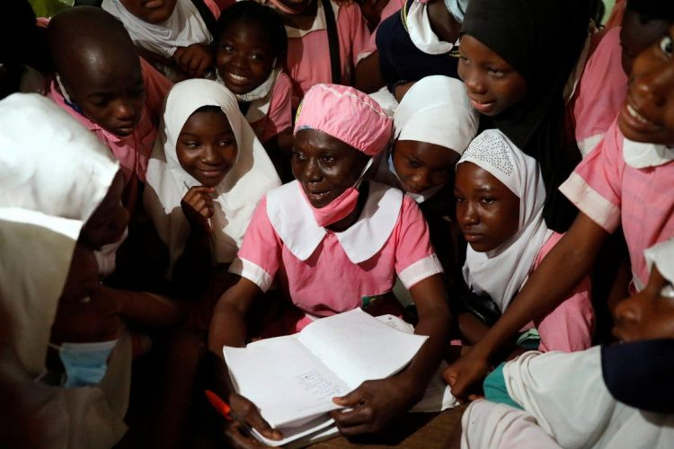 Shade Ajayi with her classmates