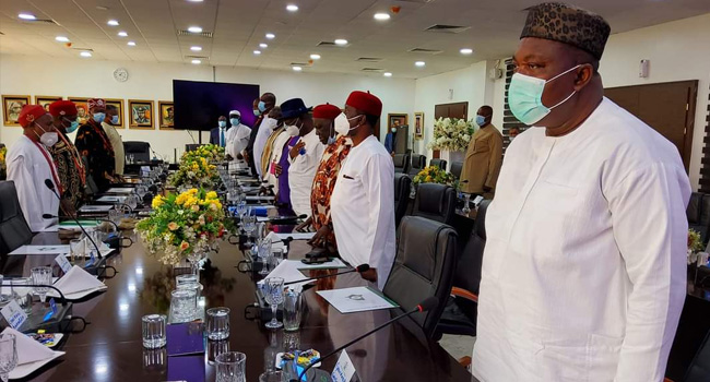 South east governors at an emergency meeting in Enugu