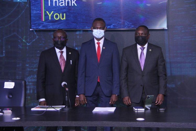 L-R: Engr. Olawale Agoro; Ahmed Kabiru Abdullahi and Gbenga Omotoso at the briefing