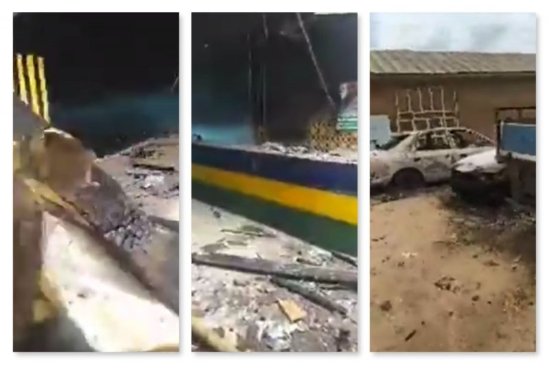 combo photo of the Izuakoli police station attacked early Monday in Abia state