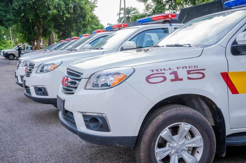 The nine patrol vehicles donated by the governor