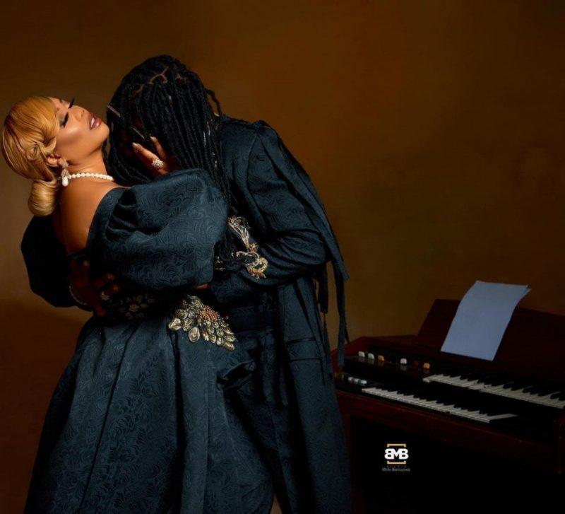 Toyin Lawani and her masked fiance, Segun Adebayo
