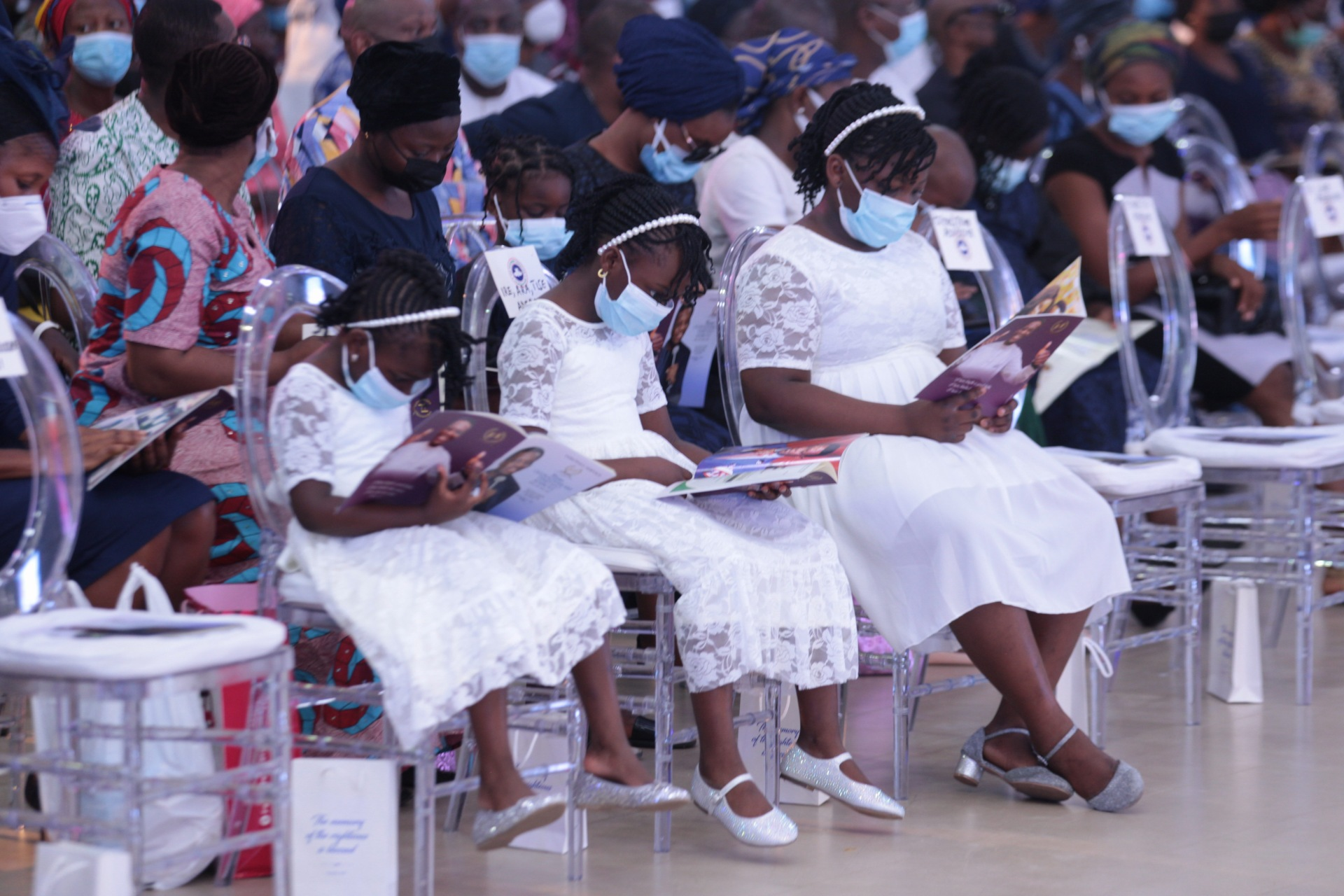 Pastor Dare Adeboye's three daughters at the farewell service at the Youth Centre, Redemption Camp