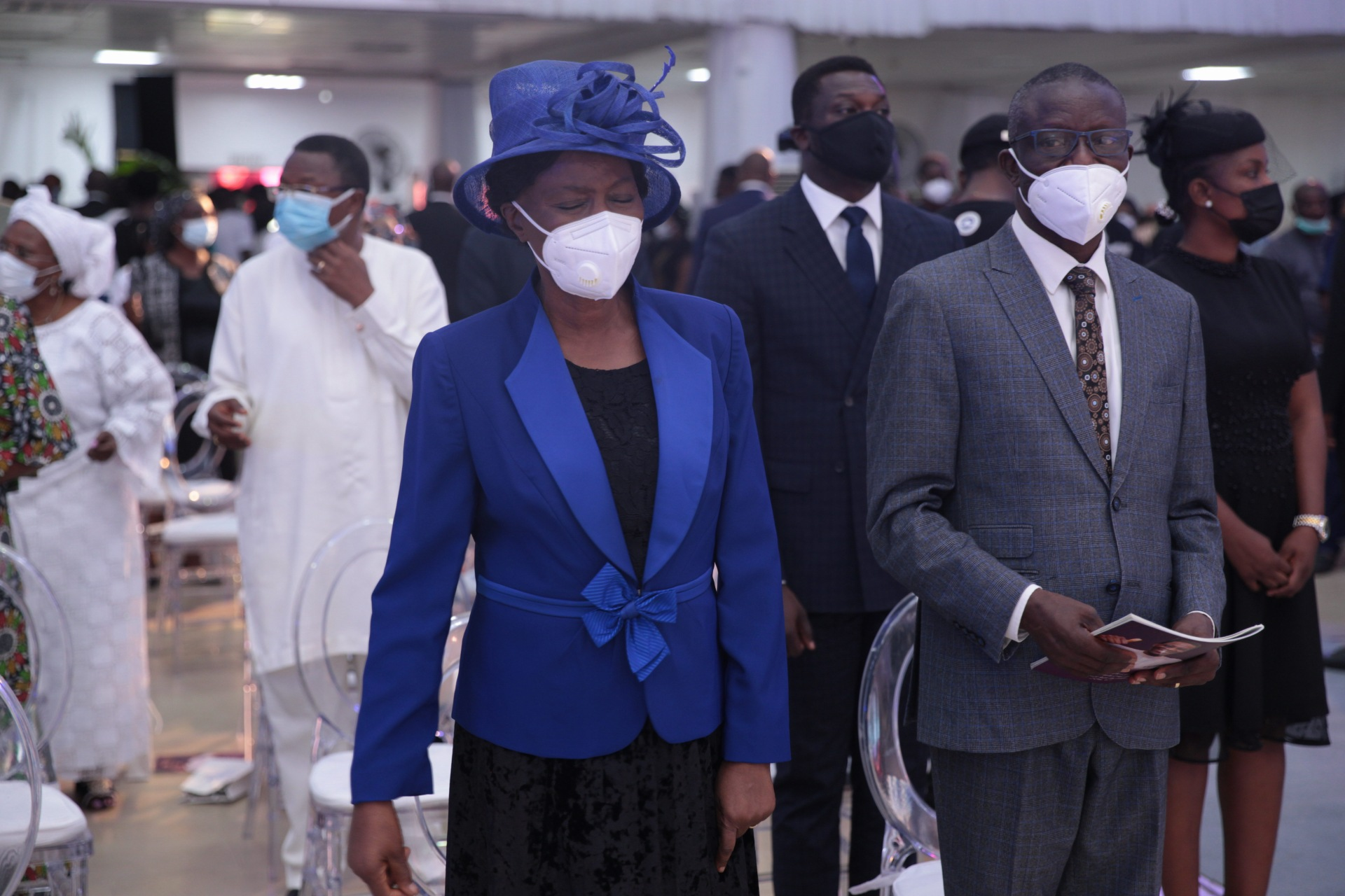 GueNational President of the Pentecostal Fellowship of Nigeria, Bishop Francis Wale Oke and wife, Victoria Tokunbo at the farewell service at the Youth Centre, Redemption Campsts at the farewell service at the Youth Centre, Redemption Camp