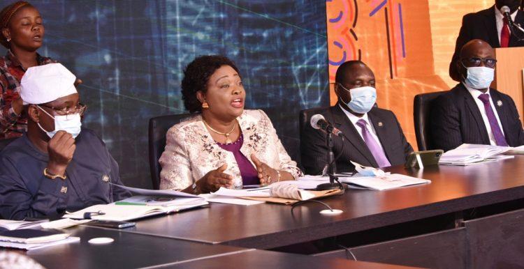 Lola Akande addressing newsmen on Monday
