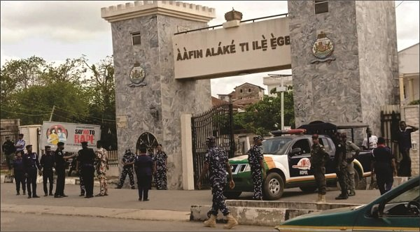 Security operatives in front of Alake's palace