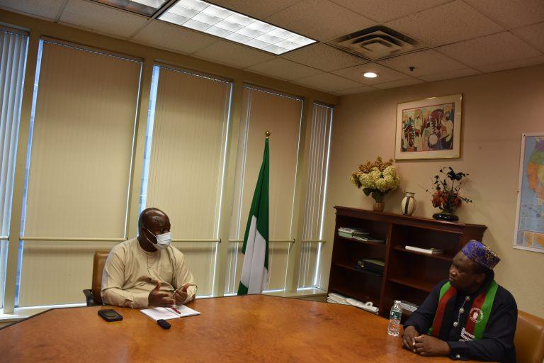 Amb. Lot Egopija, left l) with Mr Adeyemi Oloruntoba,  of Egbe Omo Yoruba: Reveals passport racketeering gang