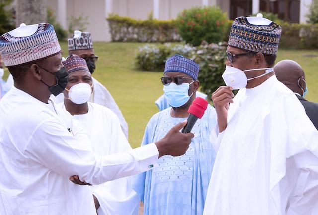 Buhari speaks with newsmen in Abuja
