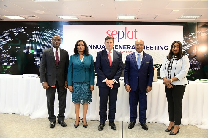 L-R: Operations Director, Seplat, Effiong Okon; Director, External Affairs and Sustainability, Dr. Chioma Nwachuku; Chief Executive Officer, Roger Brown; Chairman, Dr. ABC Orjiako; and Company Secretary/General Counsel, Edith Onwuchekwa, at Seplat's hybrid 8th Annual General Meeting held at the company's headquarters in Lagos … on Thursday.