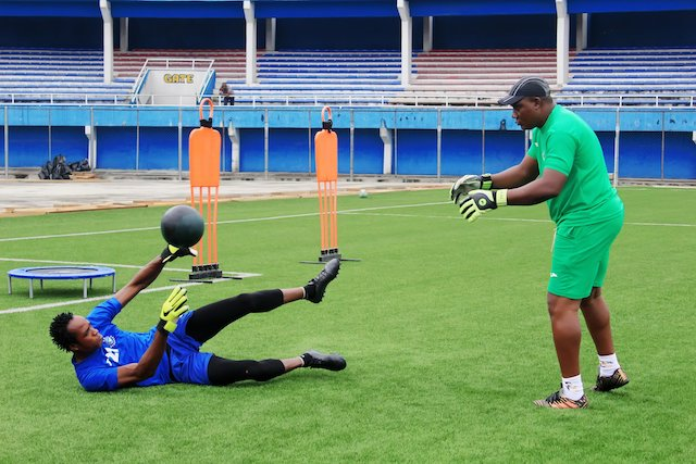 Enyimba keeper getting ready as well