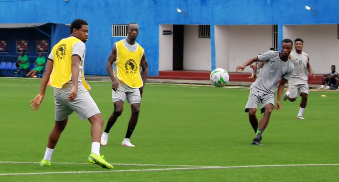 Enyimba players practising for the match against Pyramids FC
