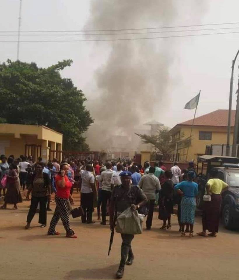 File: INEC office in Awka gutted by fire in February 2019