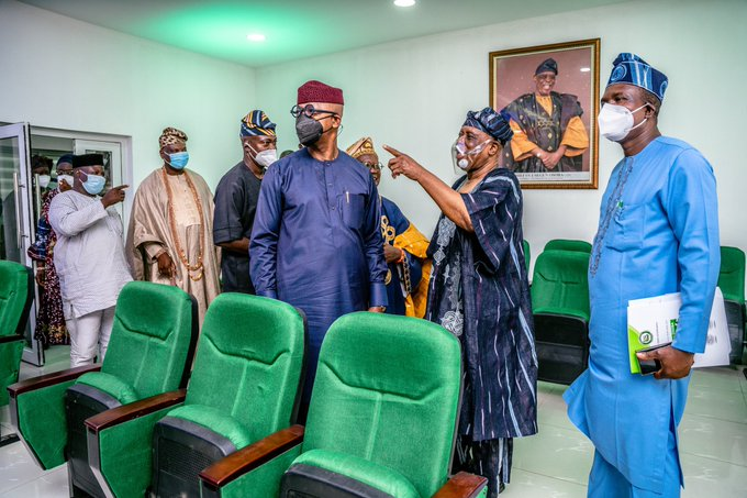 Inside the Osoba Press Centre: Osoba and his host, Abiodun