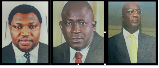 Gimba Kumo, middle, Tarry Rufus, left and Bola Ogunsola, right, wanted by ICPC