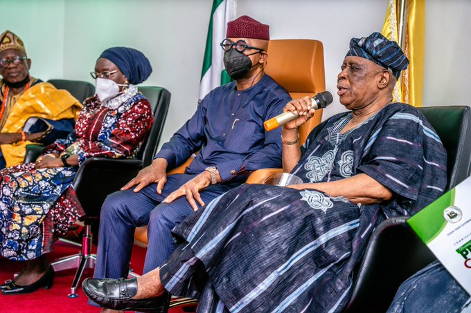 Osoba speaks at the Olusegun Osoba Press Centre