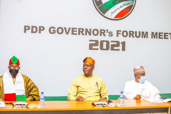 PDP governors at their meeting in Ibadan L-R Bala Mohammed, Makinde and Tambuwal