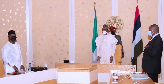 President Muhammadu Buhari (M)  Vice President Yemi Osinbajo SAN and Minister of Justice and Attorney General of the Federation, Abubakar Malami SAN during a virtual FEC Meeting held at the State House Abuja. PHOTO; SUNDAY AGHAEZE. MAY 5TH 2021