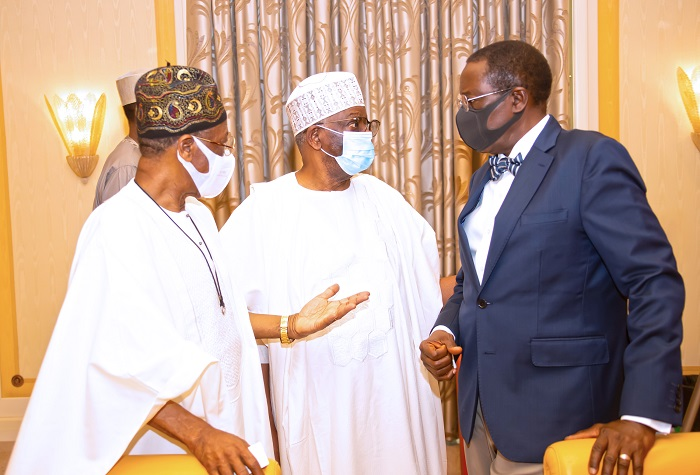 R-L: NSA Maj Gen Babagana Mongonu Rtd, Chief of Staff Prof Ibrahim Gambari and Minister of Information, Alhaji Lai Mohammed during a virtual FEC Meeting held at the State House Abuja. PHOTO; SUNDAY AGHAEZE. MAY 5TH 2021