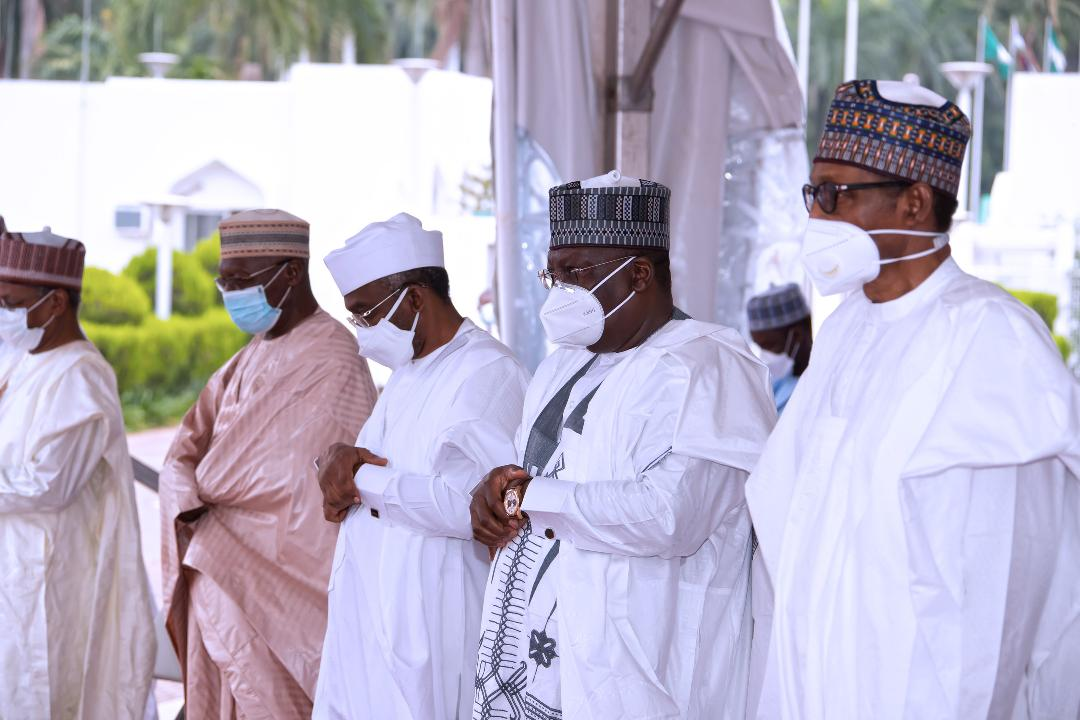 R-L Buhari, Lawan, Gbajabiamila at the Eid prayer in Aso Rock