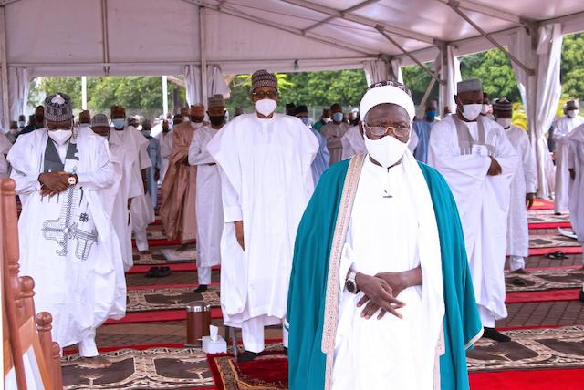 Time for prayer led by Chief Imam of the State House Mosque Sheik Abdulwahid Sulaiman