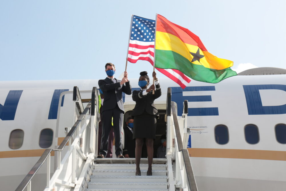 United Airlines flight arrives Accra