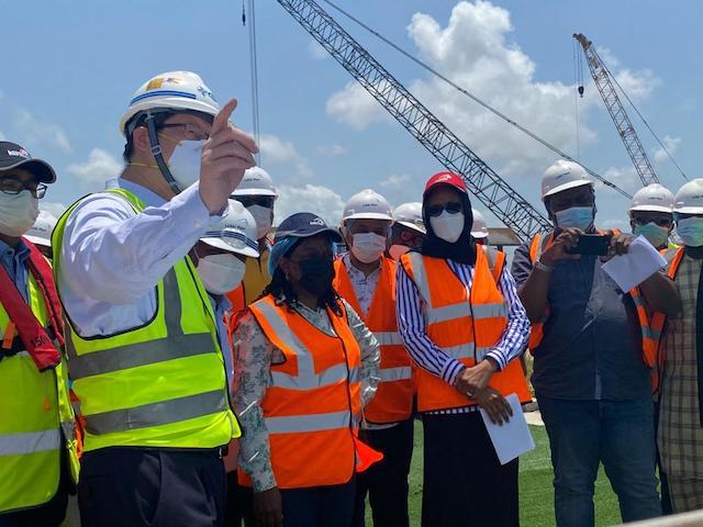 Magdalene Ajani, Hadiza Bala Usman and other visitors at the Lekki Deep Seaport on May Day