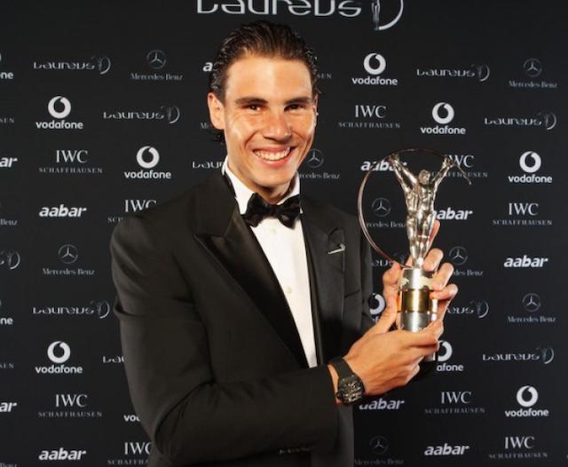 nadal with a past Laureus trophy