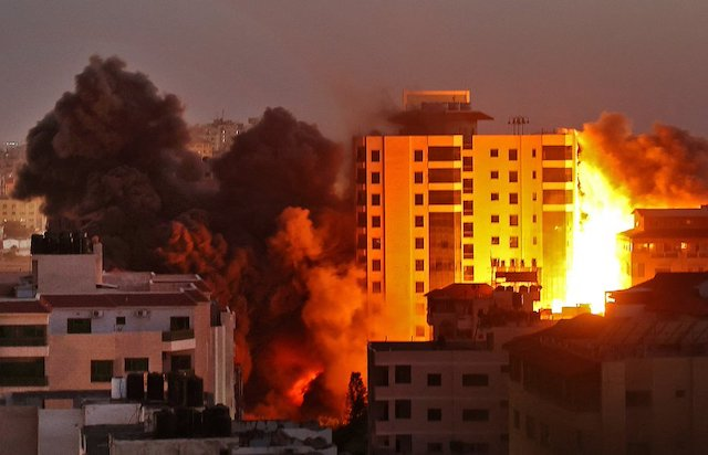the 13 storey building in Gaza bombed by Israel