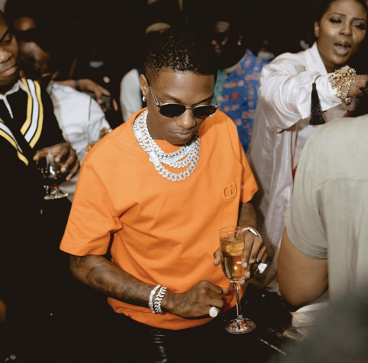 Wizkid out for dinner in Lagos