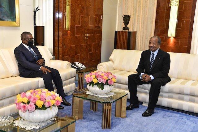 Aliko Dangote and President Paul Biya at the Unity Palace in Yaounde
