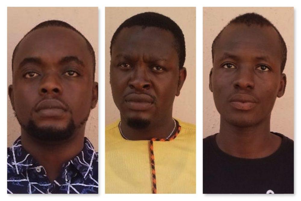 L-R Benson Kufre, Irabor Eseosa and Marcus Danjuma arrested for Ponzi scheme by EFCC Sokoto