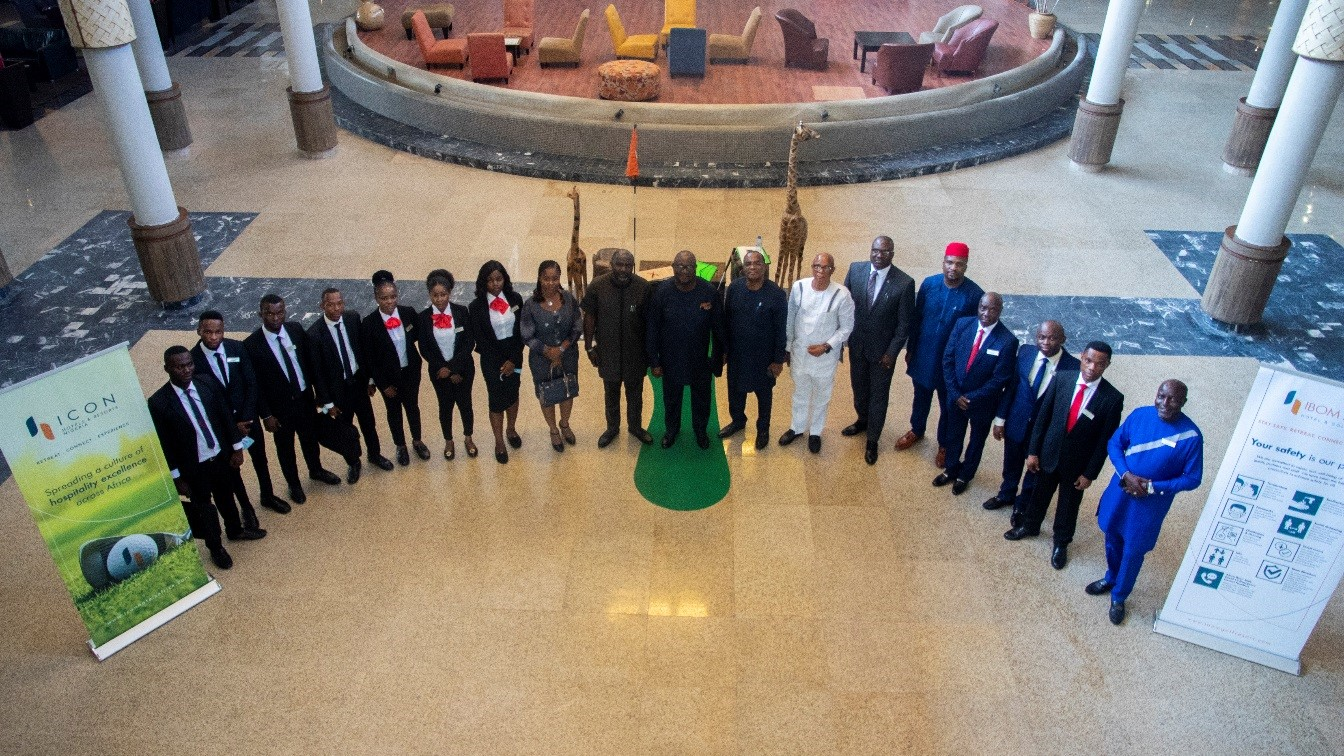 A group photograph showing the trainees and members of the board of directors and management team of IBOM ICON Hotel & Golf Resort Uyo