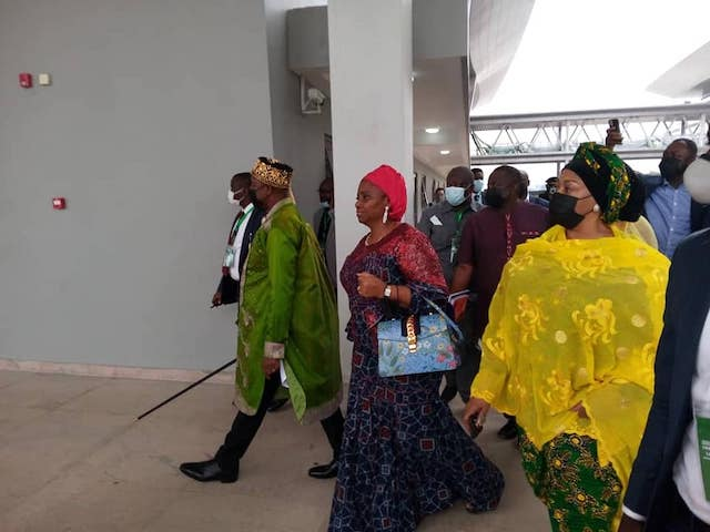 Transport minister Amaechi, second left, and minister of state Gbemisola Saraki, right in Ebute Meta Lagos