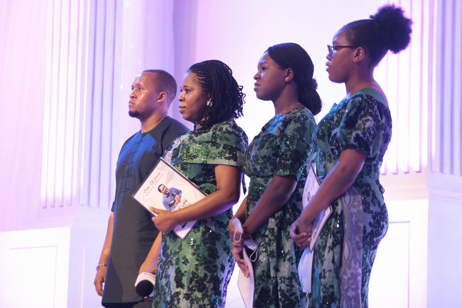Late TB Joshua's daughters and son-in-law at All Day Service Tribute at Synagogue Church of All Nations. Photo by Ayodele Efunla