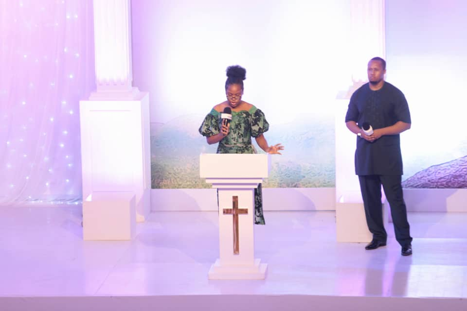 Heart Joshua, Late TB Joshua's last daughter delivering emotional tribute at All Day Service Tribute at Synagogue Church of All Nations. Photo by Ayodele Efunla