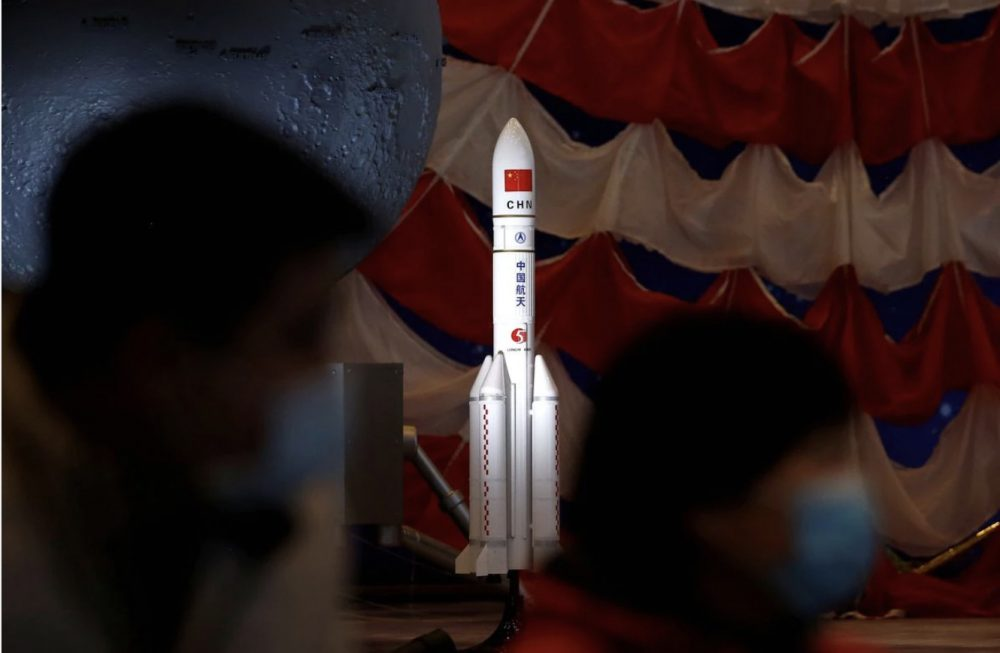 A model of China's the Long March-5 Y5 rocket to be used to deflect asteroids from hitting the Earth