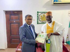 Bangladesh High Commissioner to Nigeria Mr R Masudur Rahman and Alhaji Adedayo Thomas NFVCB Executive Director
