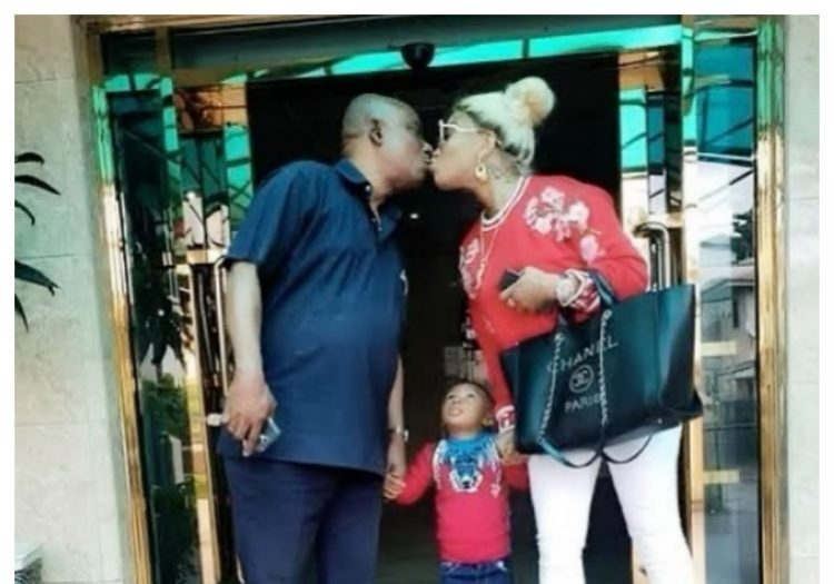 Weird moment Tonto Dikeh kissed her father