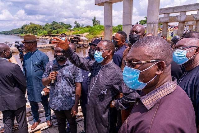 Governor Ifeanyi Okowa at the site of Kwale-Beneku Bridge that links Ndokwa West and Ndokwa East