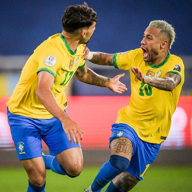 Brazil through to semi-final of Copa America. Photo: Neymar and Paqueta the goal scorer