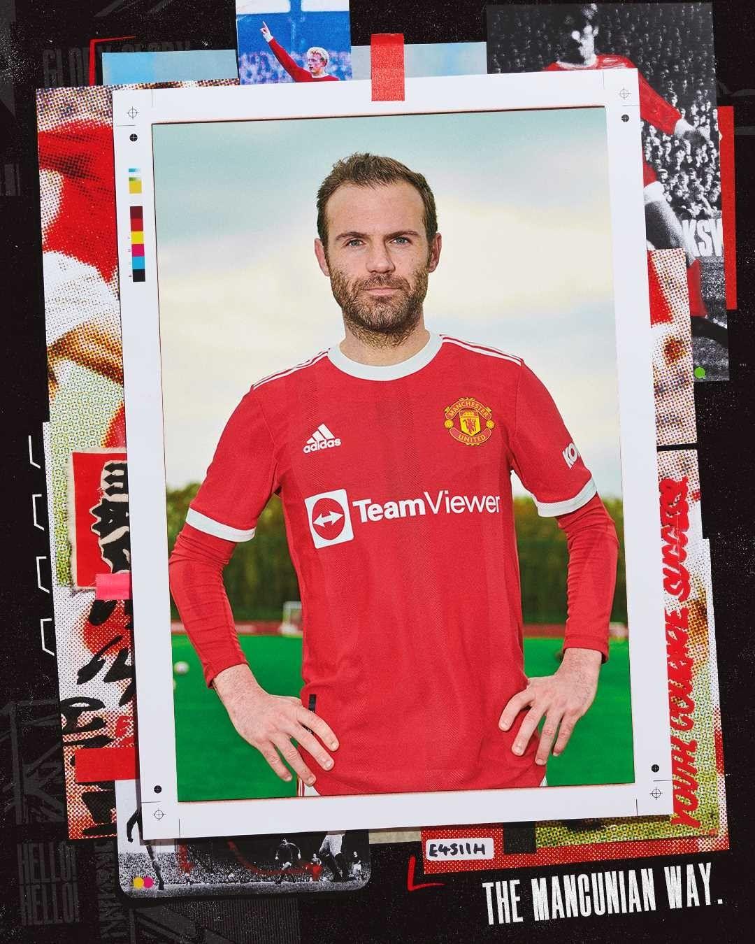 Juan Mata modelling Manchester United new kit
