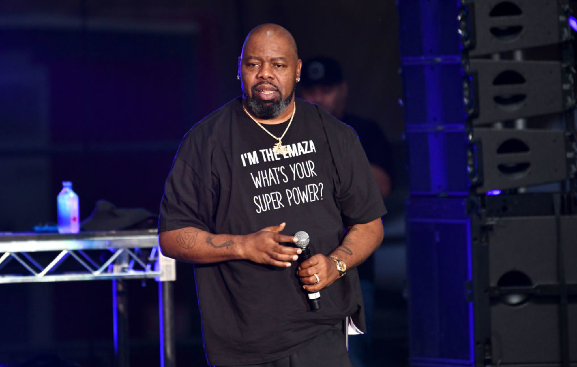 IRVINE, CALIFORNIA - JULY 13: Rapper Biz Markie performs onstage during Hammer's House Party at Five Point Amphitheater on July 13, 2019 in Irvine, California. (Photo by Scott Dudelson/Getty Images)
