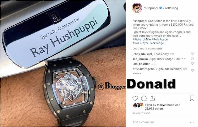 Hushpuppi flaunting a Richard Mille watch in March 2019