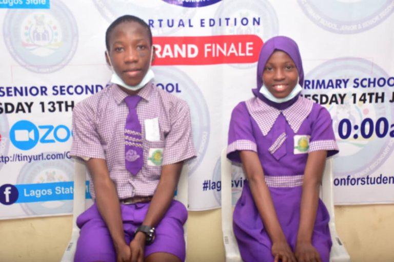 Lalekan Ebere and Olabisi Divine of Vetland Senior Grammar School win Lagos Governor's Quiz