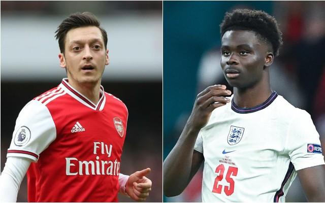 Mesut Ozil and Bukayo Saka