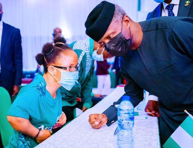 Osinbajo with one of the athletes