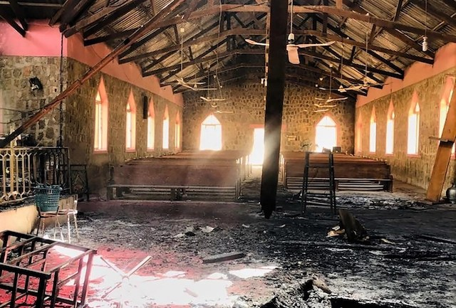 Remains of EYN church in Garkida Adamawa state destoyed by Boko Haram in Feb. 2020